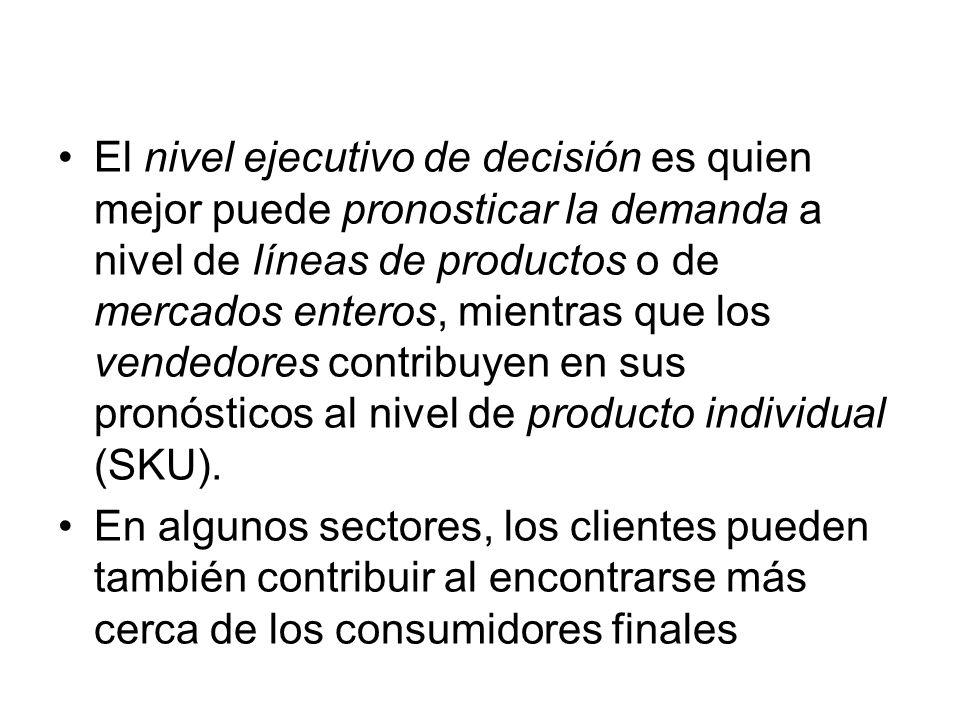 El nivel ejecutivo de decisión es quien mejor puede pronosticar la demanda a nivel de líneas de productos o de mercados enteros, mientras que los vendedores contribuyen en sus pronósticos al nivel de producto individual (SKU).