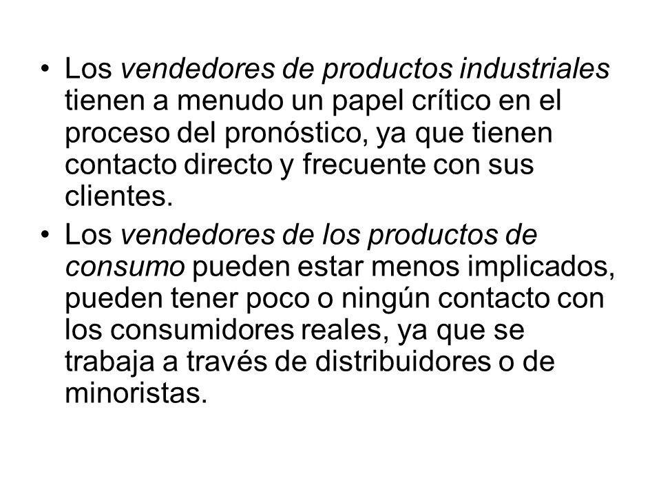 Los vendedores de productos industriales tienen a menudo un papel crítico en el proceso del pronóstico, ya que tienen contacto directo y frecuente con sus clientes.