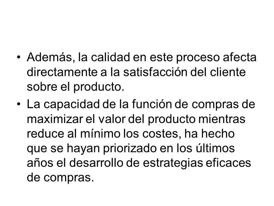 Además, la calidad en este proceso afecta directamente a la satisfacción del cliente sobre el producto.