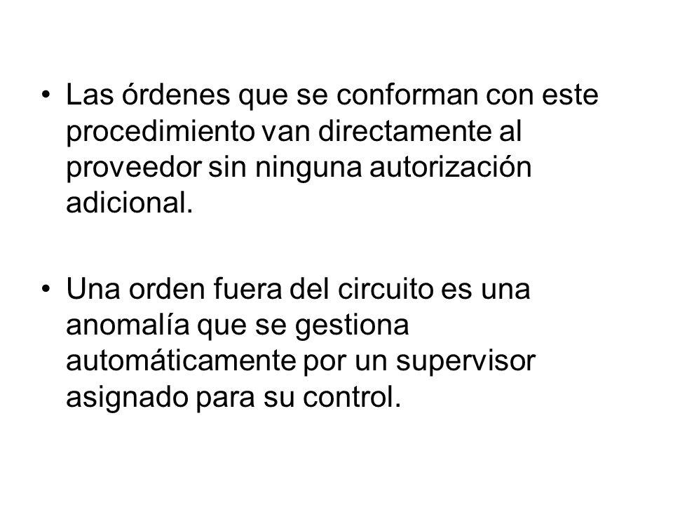 Las órdenes que se conforman con este procedimiento van directamente al proveedor sin ninguna autorización adicional.