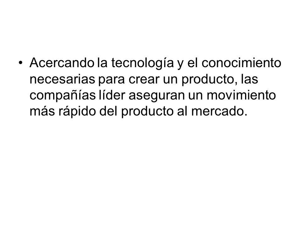 Acercando la tecnología y el conocimiento necesarias para crear un producto, las compañías líder aseguran un movimiento más rápido del producto al mercado.