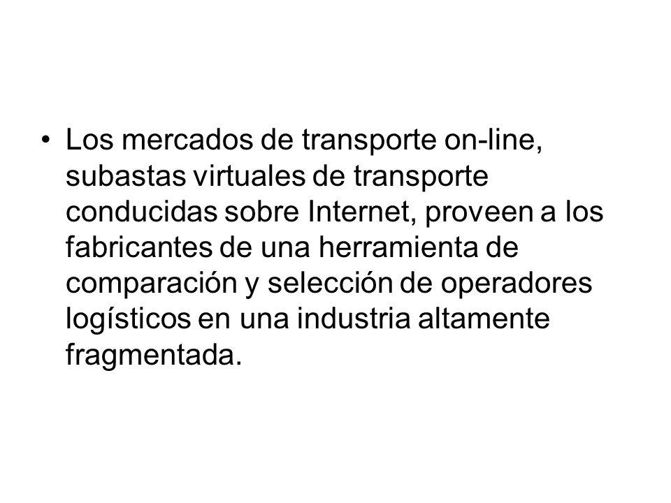 Los mercados de transporte on-line, subastas virtuales de transporte conducidas sobre Internet, proveen a los fabricantes de una herramienta de comparación y selección de operadores logísticos en una industria altamente fragmentada.