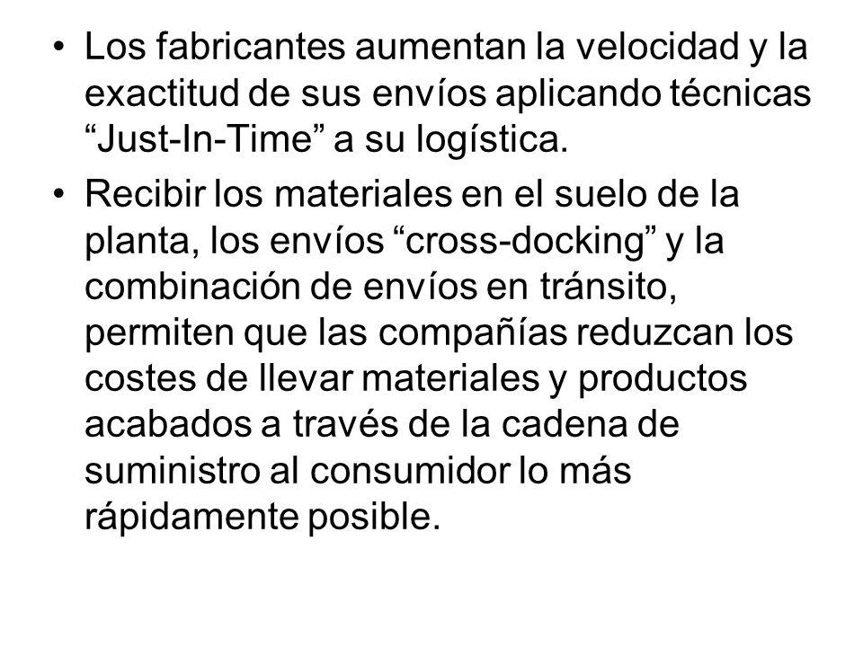Los fabricantes aumentan la velocidad y la exactitud de sus envíos aplicando técnicas Just-In-Time a su logística.