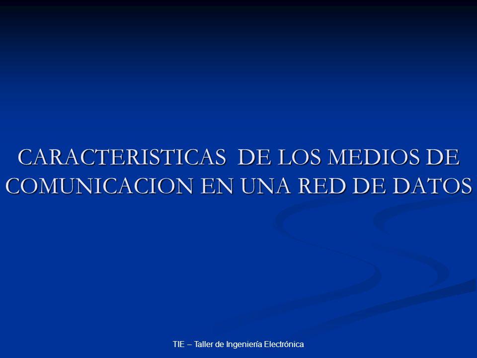 CARACTERISTICAS DE LOS MEDIOS DE COMUNICACION EN UNA RED DE DATOS