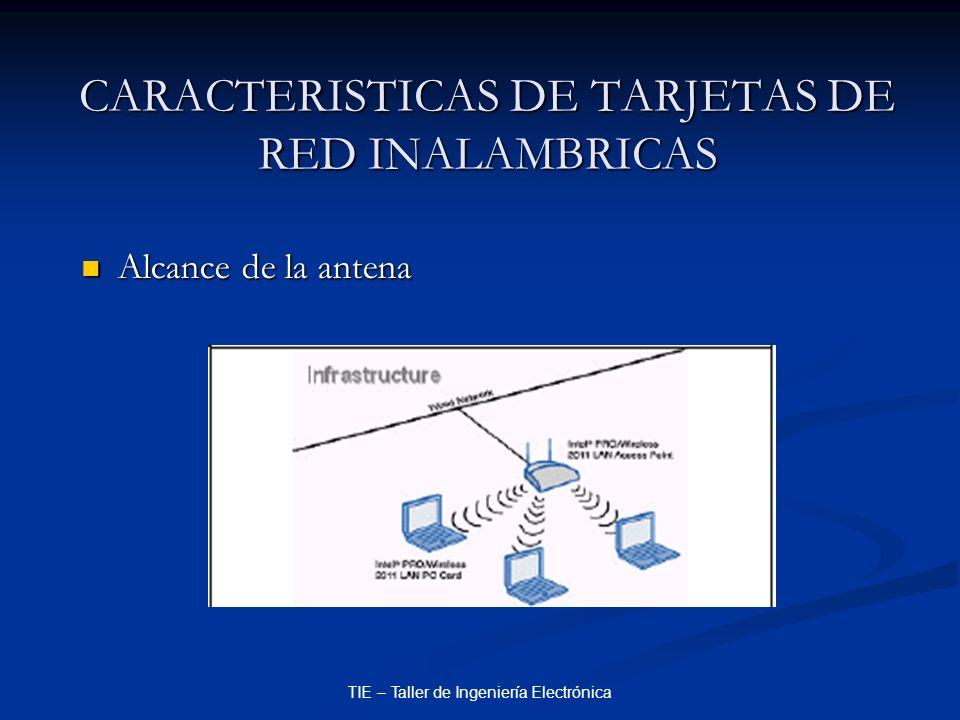 CARACTERISTICAS DE TARJETAS DE RED INALAMBRICAS