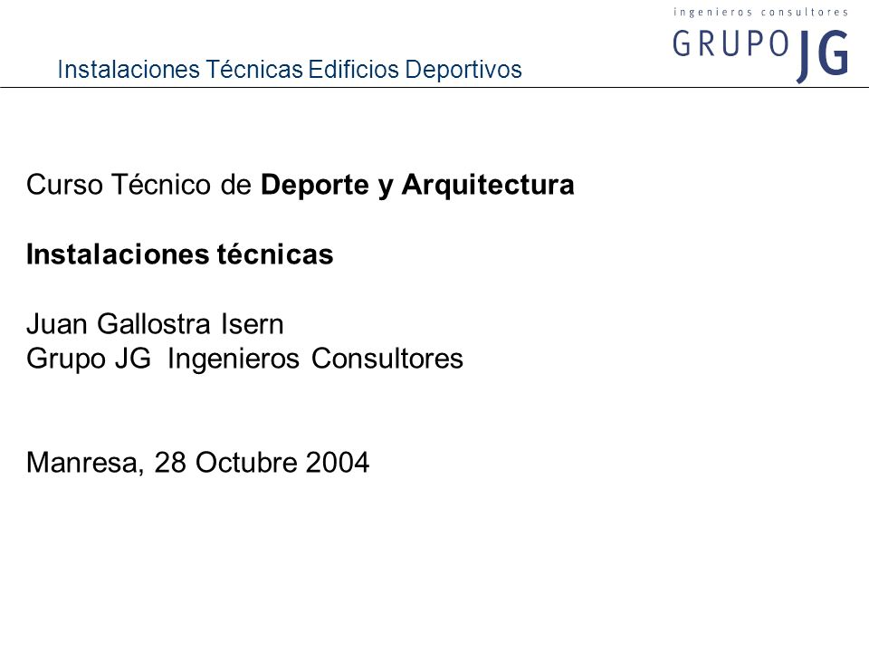 Curso Técnico de Deporte y Arquitectura Instalaciones técnicas
