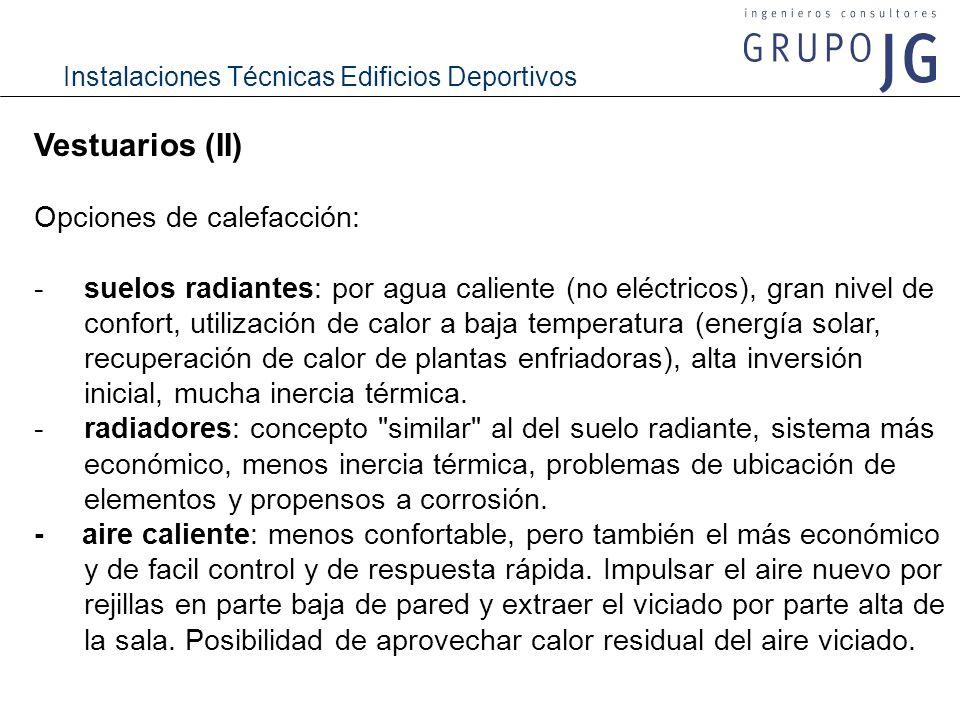 Vestuarios (II) Opciones de calefacción: