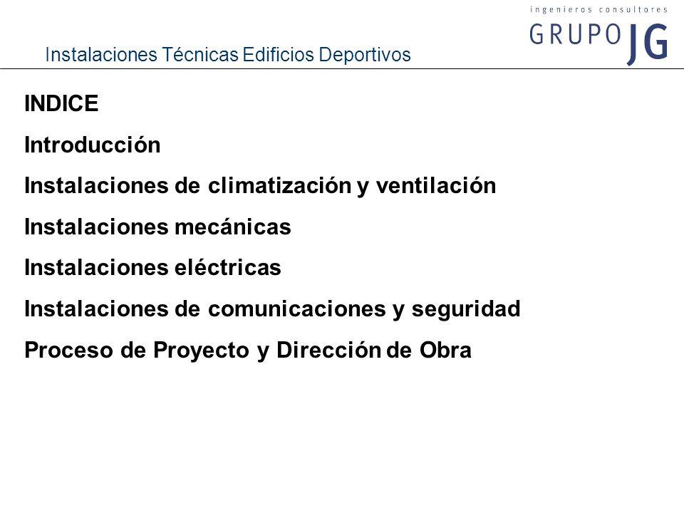 INDICE Introducción. Instalaciones de climatización y ventilación. Instalaciones mecánicas. Instalaciones eléctricas.