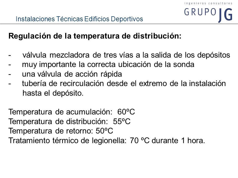 Regulación de la temperatura de distribución: