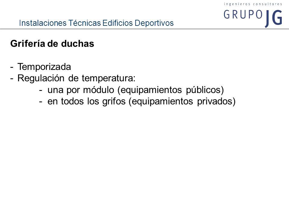 Grifería de duchas - Temporizada. - Regulación de temperatura: - una por módulo (equipamientos públicos)