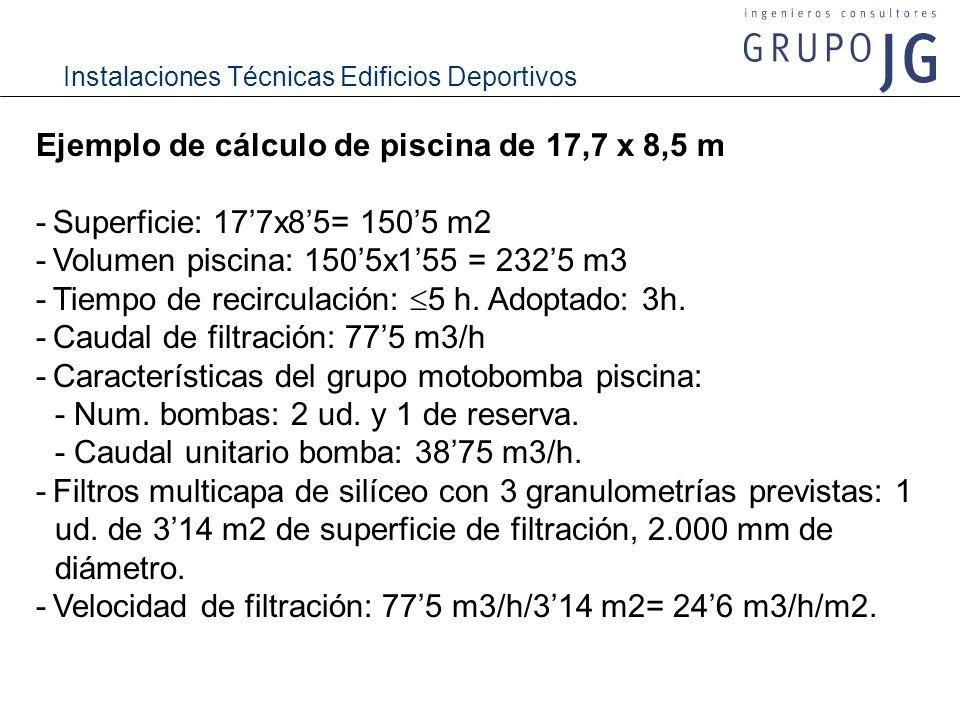 Ejemplo de cálculo de piscina de 17,7 x 8,5 m