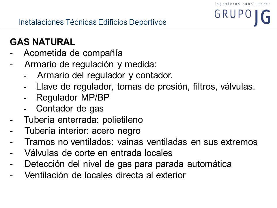 GAS NATURAL - Acometida de compañía. - Armario de regulación y medida: - Armario del regulador y contador.