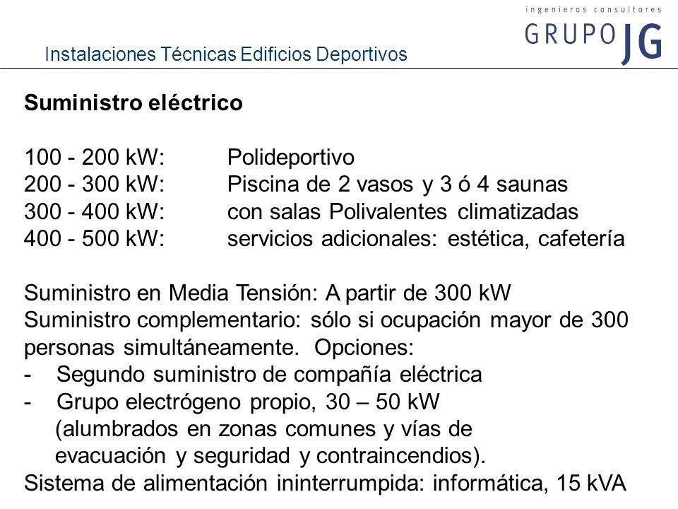 Suministro eléctrico 100 - 200 kW: Polideportivo. 200 - 300 kW: Piscina de 2 vasos y 3 ó 4 saunas.