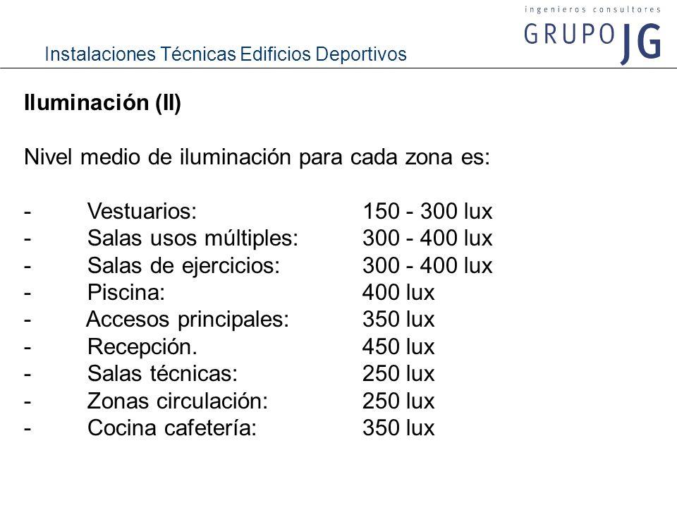 Iluminación (II) Nivel medio de iluminación para cada zona es: - Vestuarios: 150 - 300 lux.