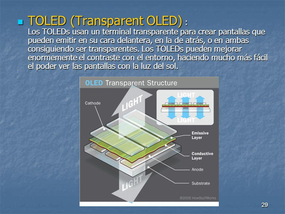 TOLED (Transparent OLED) : Los TOLEDs usan un terminal transparente para crear pantallas que pueden emitir en su cara delantera, en la de atrás, o en ambas consiguiendo ser transparentes.