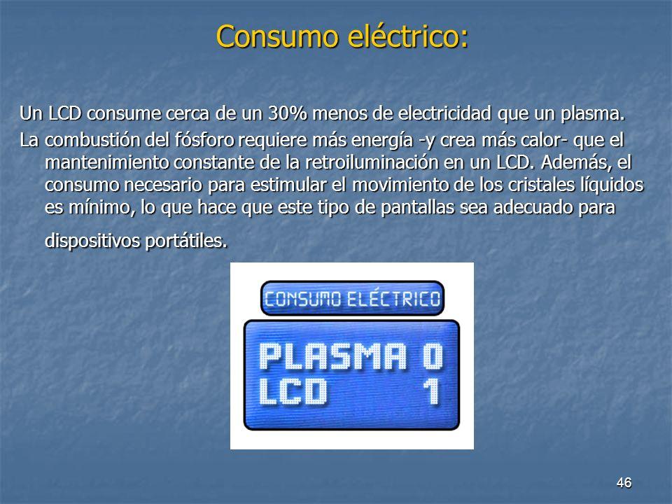 Consumo eléctrico: Un LCD consume cerca de un 30% menos de electricidad que un plasma.
