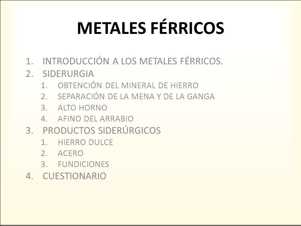 METALES FÉRRICOS INTRODUCCIÓN A LOS METALES FÉRRICOS. SIDERURGIA ...