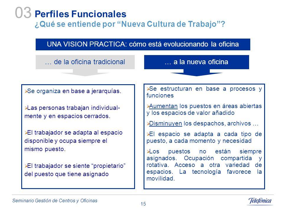 03 Perfiles Funcionales ¿Qué se entiende por Nueva Cultura de Trabajo UNA VISION PRACTICA: cómo está evolucionando la oficina.