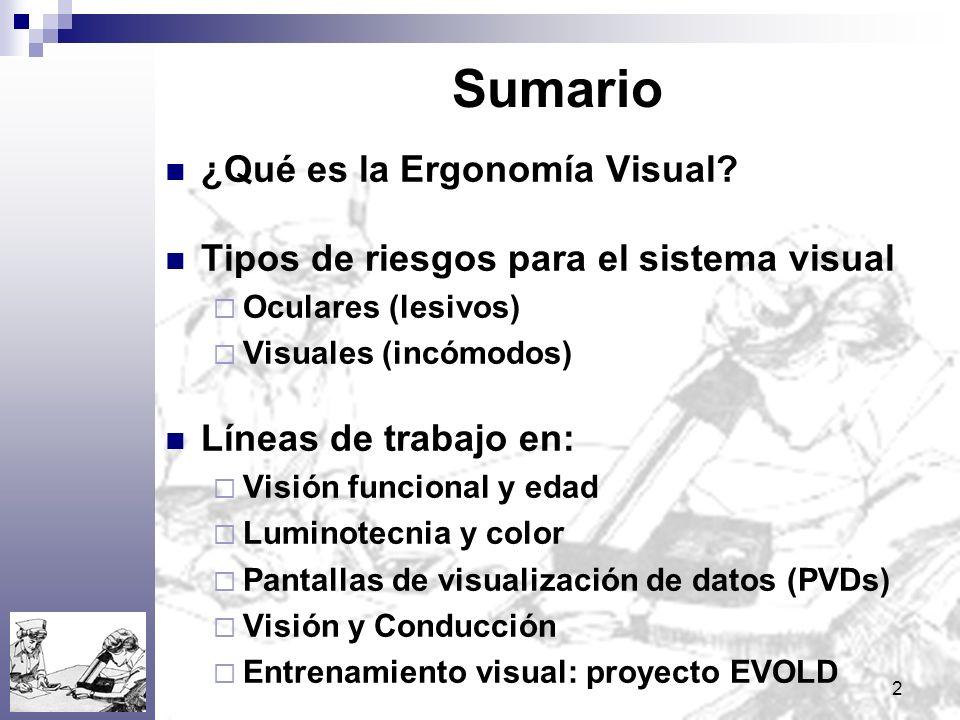Sumario ¿Qué es la Ergonomía Visual