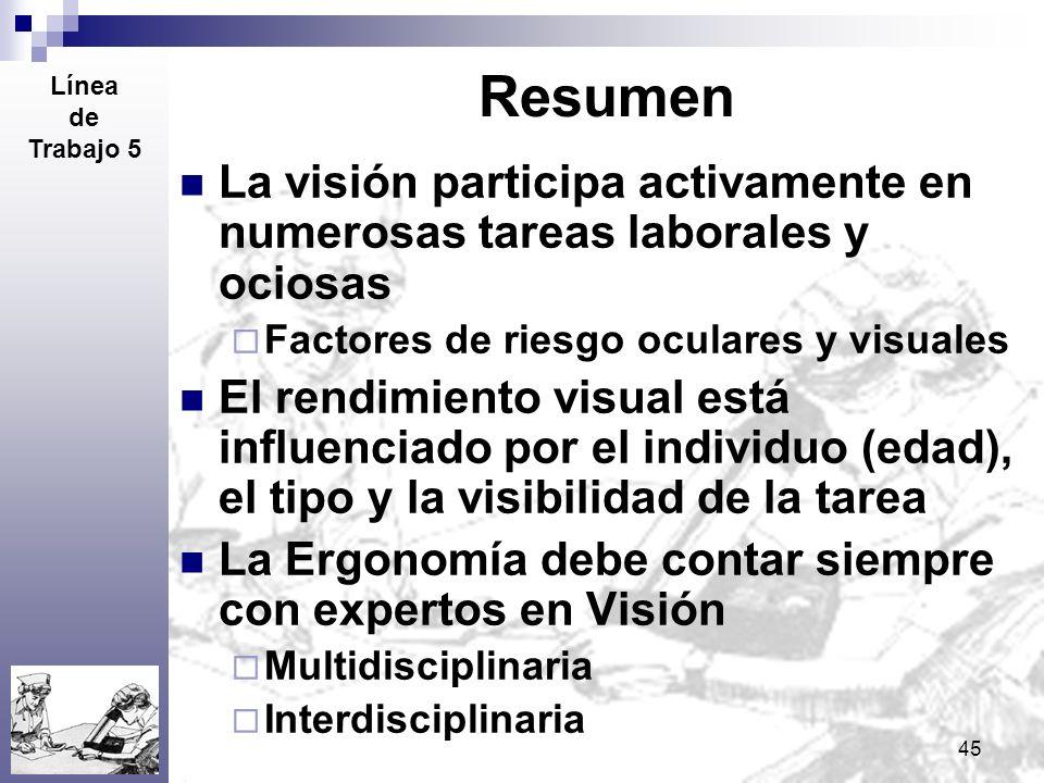 Resumen Línea. de. Trabajo 5. La visión participa activamente en numerosas tareas laborales y ociosas.