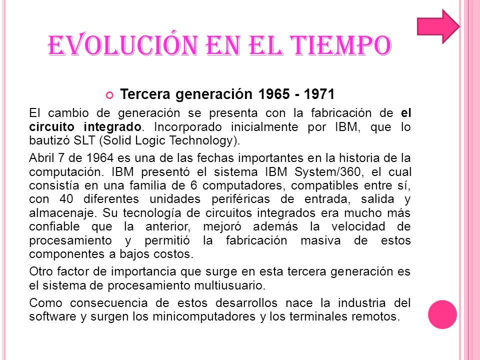 EVOLUCIÓN EN EL TIEMPO Tercera generación 1965 - 1971