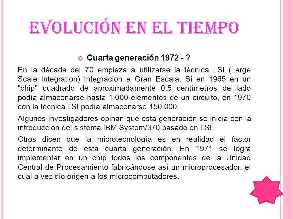 EVOLUCIÓN EN EL TIEMPO Cuarta generación 1972 -