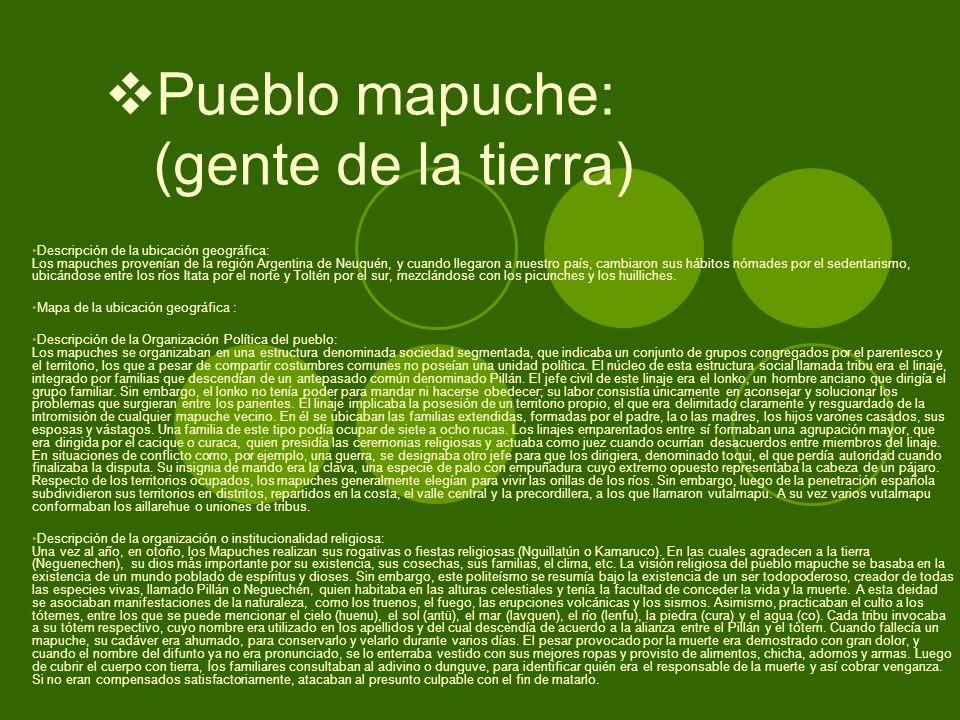Pueblo mapuche: (gente de la tierra)