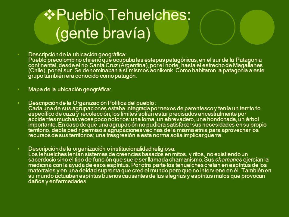 Pueblo Tehuelches: (gente bravía)