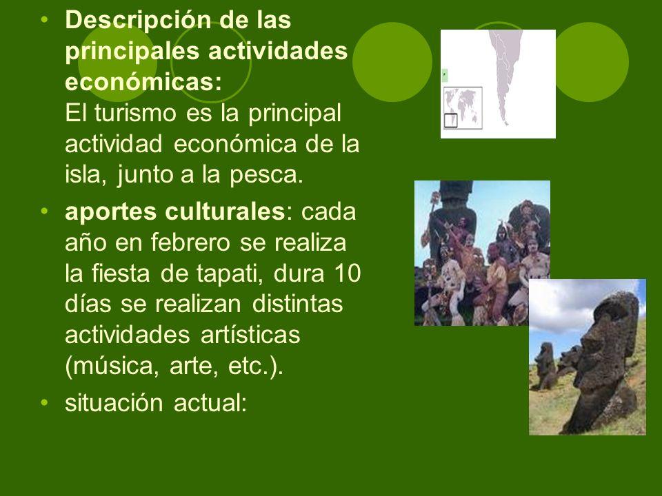 Descripción de las principales actividades económicas: El turismo es la principal actividad económica de la isla, junto a la pesca.