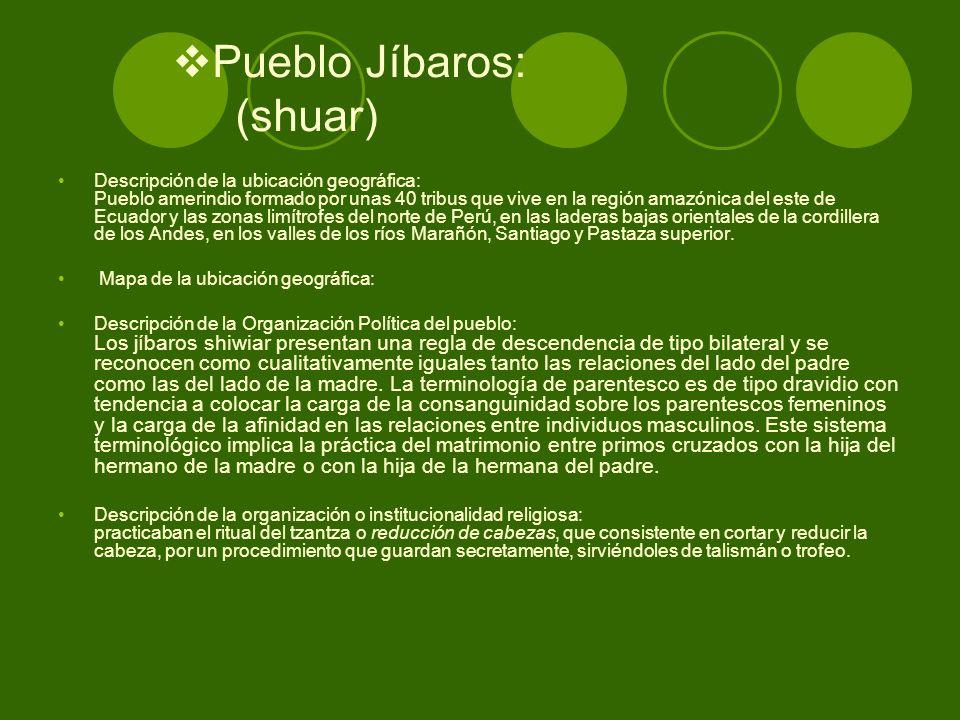 Pueblo Jíbaros: (shuar)