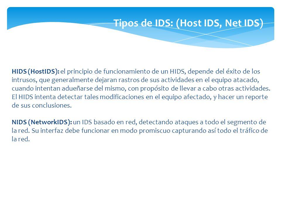 Tipos de IDS: (Host IDS, Net IDS)