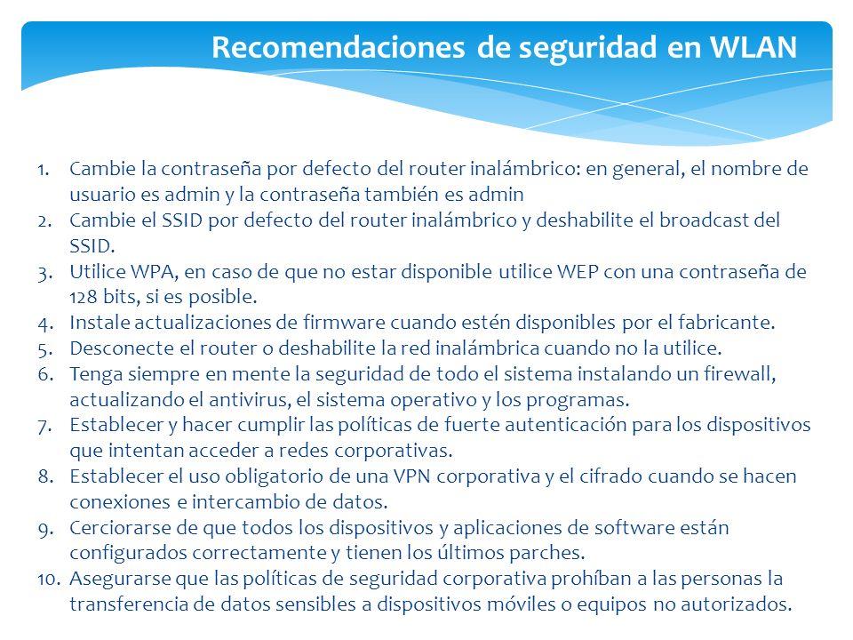 Recomendaciones de seguridad en WLAN