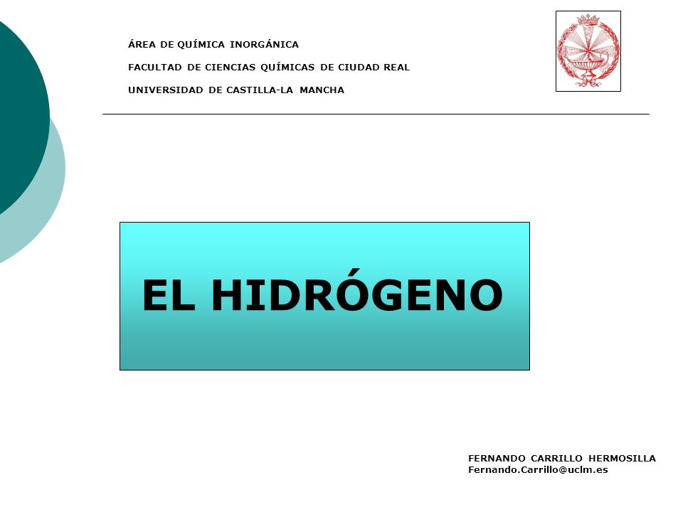 EL HIDRÓGENO ÁREA DE QUÍMICA INORGÁNICA