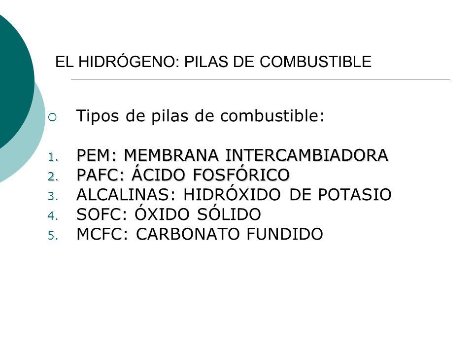 Tipos de pilas de combustible: PEM: MEMBRANA INTERCAMBIADORA