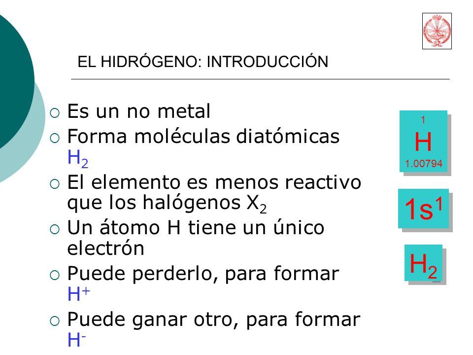 1s1 H H2 Es un no metal Forma moléculas diatómicas H2