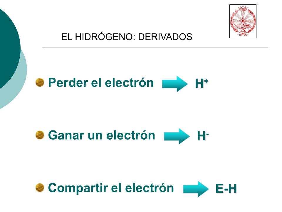 Perder el electrón H+ Ganar un electrón H- Compartir el electrón E-H