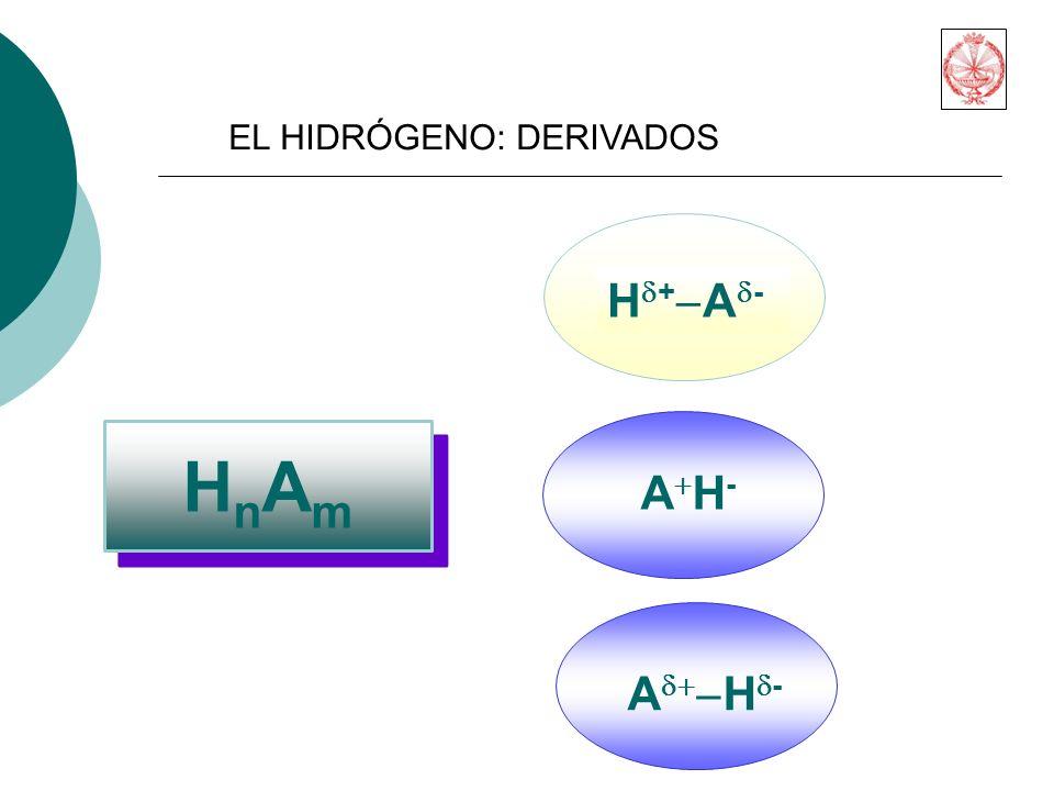 HnAm Hd+-Ad- A+H- Ad+-Hd- EL HIDRÓGENO: DERIVADOS
