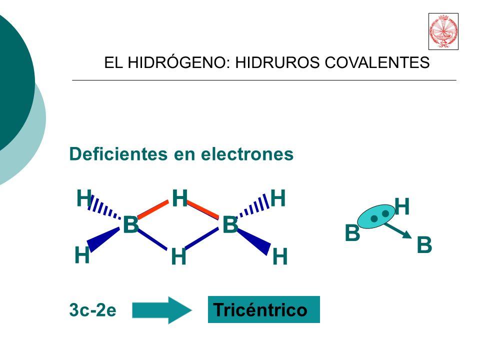 . B H B H B H Deficientes en electrones 3c-2e Tricéntrico