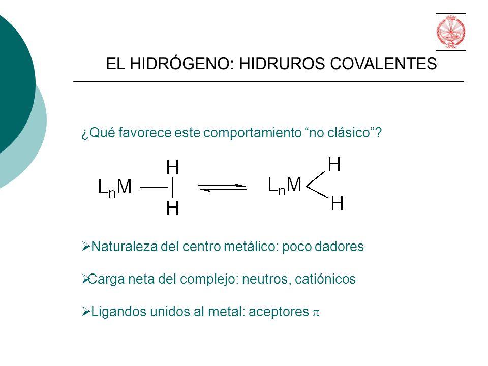 EL HIDRÓGENO: HIDRUROS COVALENTES