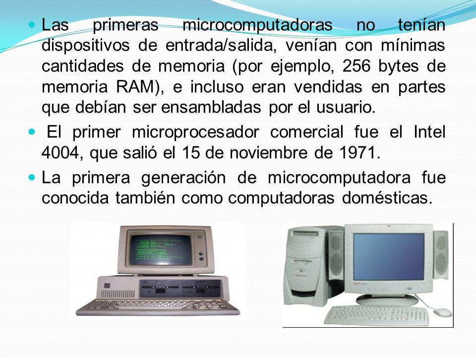 Las primeras microcomputadoras no tenían dispositivos de entrada/salida, venían con mínimas cantidades de memoria (por ejemplo, 256 bytes de memoria RAM), e incluso eran vendidas en partes que debían ser ensambladas por el usuario.
