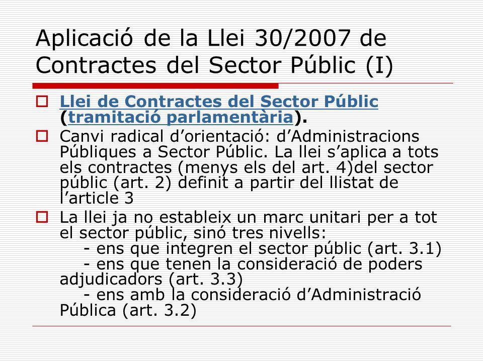 Aplicació de la Llei 30/2007 de Contractes del Sector Públic (I)