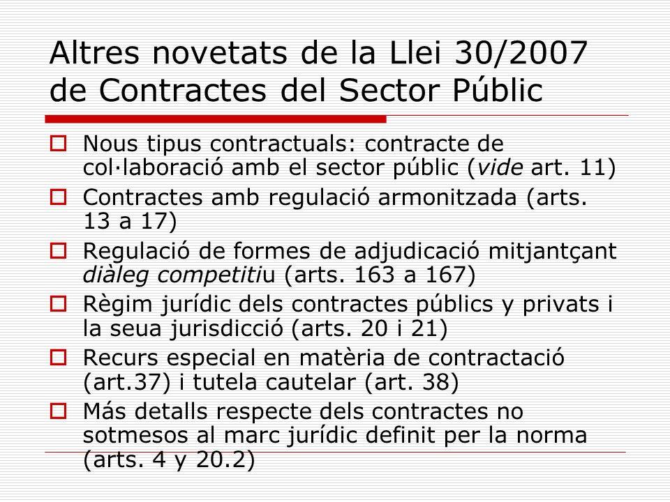 Altres novetats de la Llei 30/2007 de Contractes del Sector Públic