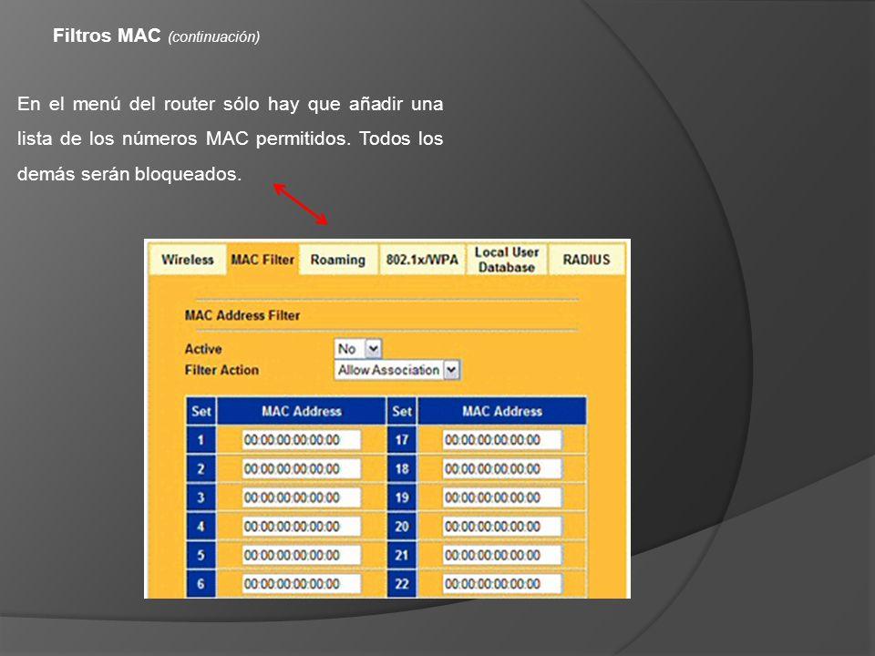 Filtros MAC (continuación)