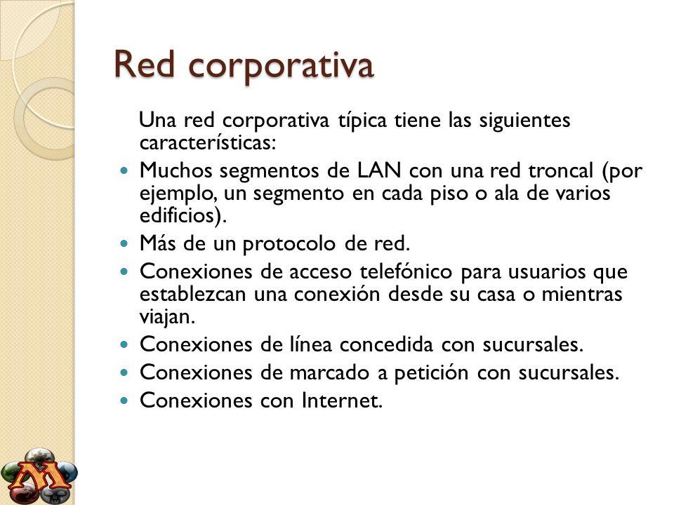 Red corporativaUna red corporativa típica tiene las siguientes características: