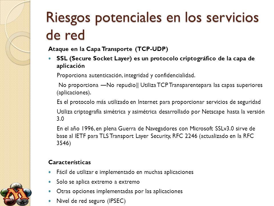 Riesgos potenciales en los servicios de red