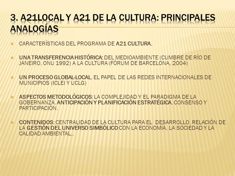 3. A21LOCAL Y A21 DE LA CULTURA: PRINCIPALES ANALOGÍAS