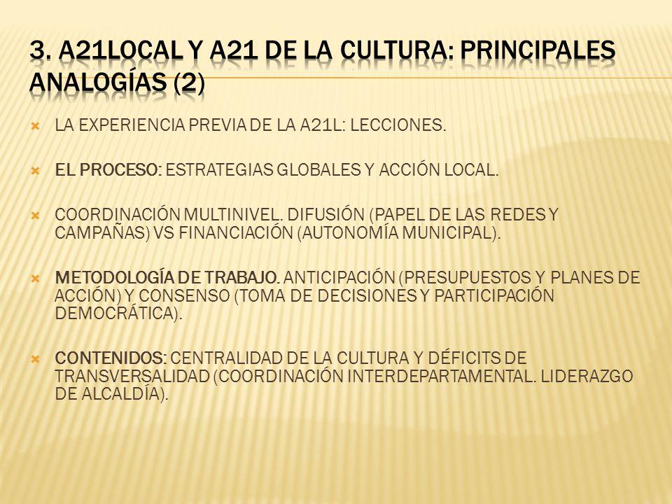3. A21LOCAL Y A21 DE LA CULTURA: PRINCIPALES ANALOGÍAS (2)
