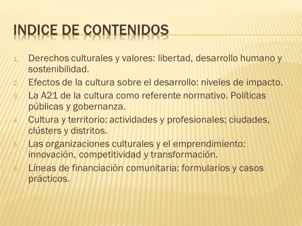 INDICE DE CONTENIDOS Derechos culturales y valores: libertad, desarrollo humano y sostenibilidad.