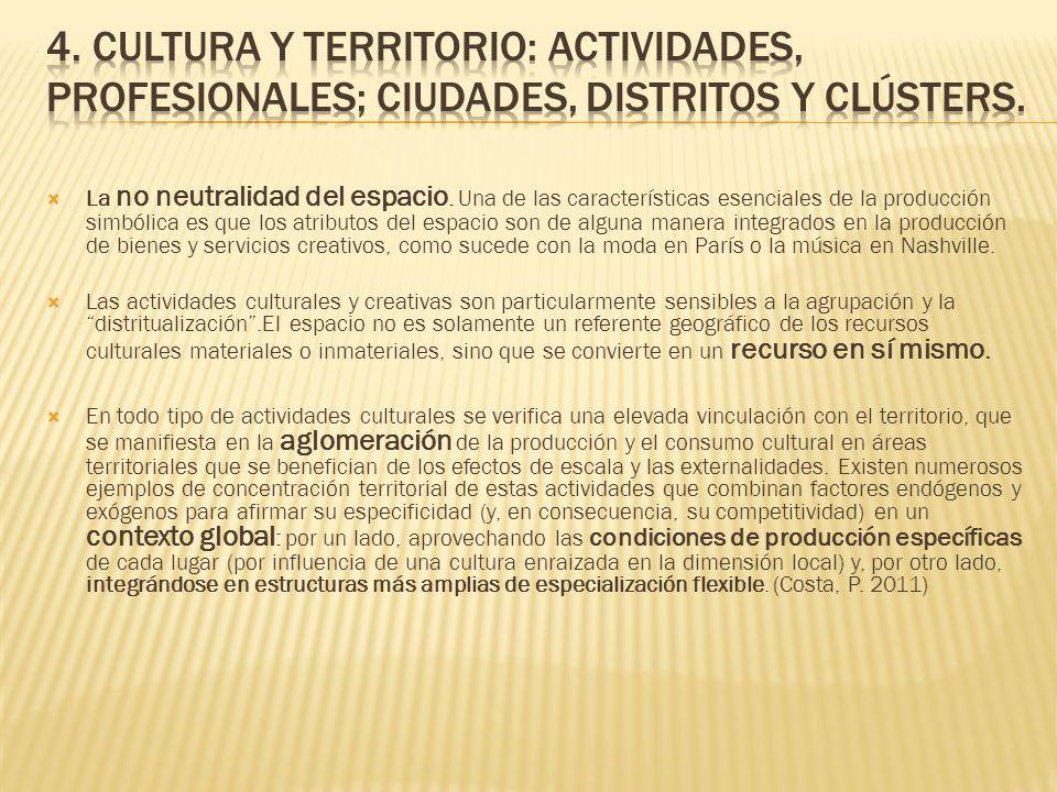4. Cultura y territorio: actividades, profesionales; ciudades, distritos y clústers.