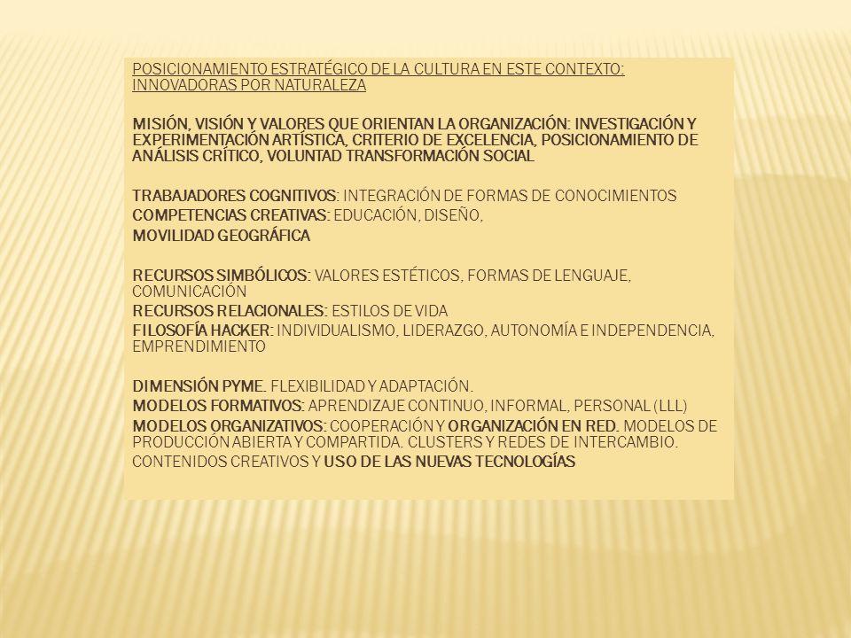 POSICIONAMIENTO ESTRATÉGICO DE LA CULTURA EN ESTE CONTEXTO: INNOVADORAS POR NATURALEZA
